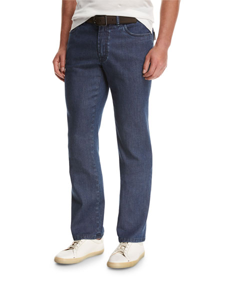 Brioni Dark-Wash Stretch-Denim Jeans, Blue