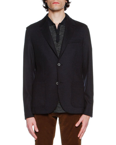 Striped Virgin Wool Two-Button Blazer, Navy