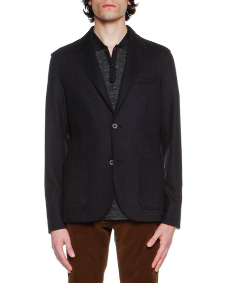 Lanvin Striped Virgin Wool Two-Button Blazer, Navy