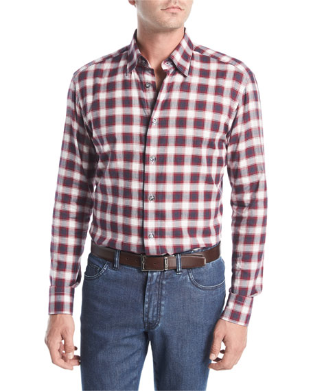 Brioni Plaid Cotton Shirt