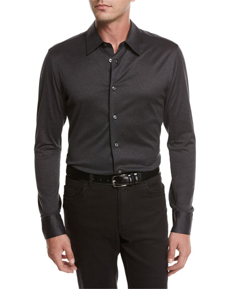 Brioni Jersey Cotton Shirt, Gray