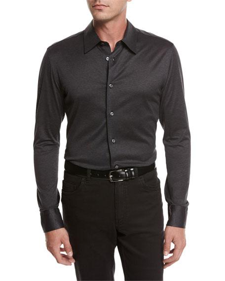 Brioni Jersey Cotton Shirt, Gray