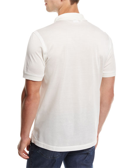 Cotton Pique Polo Shirt, White