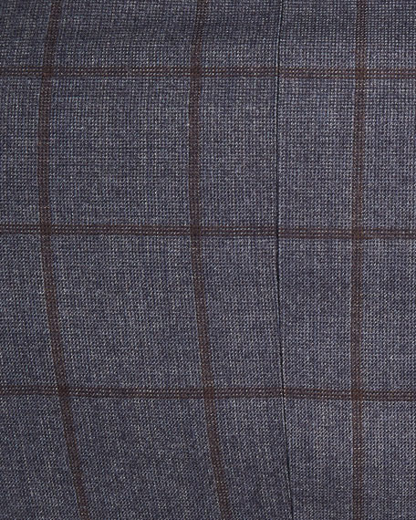 Windowpane Check Wool Two-Piece Suit