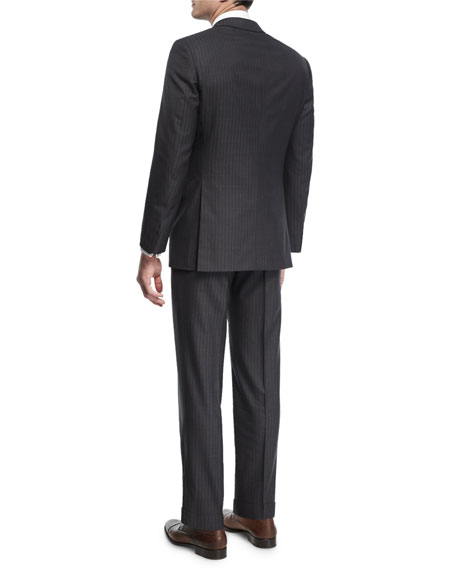 Herringbone Striped Wool Two-Piece Suit