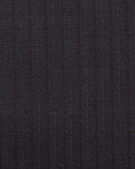 Herringbone Striped Wool Two-Piece Suit