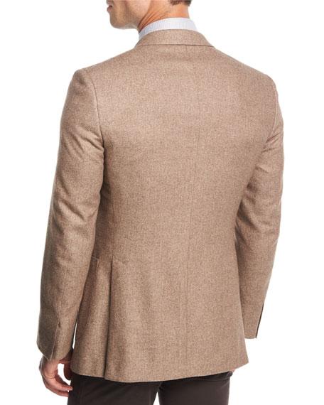 Melange Silk-Cashmere Two-Button Blazer