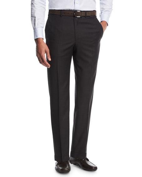 Sharkskin Flat-Front Trousers, Gray