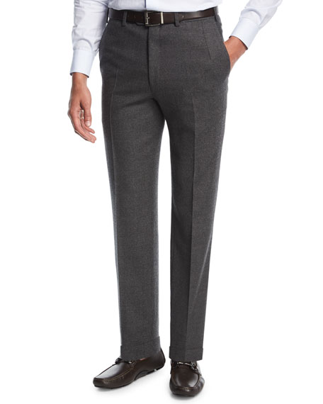 Flannel Flat-Front Trousers