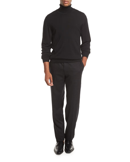 Wool Flannel Flat-Front Trousers, Gray