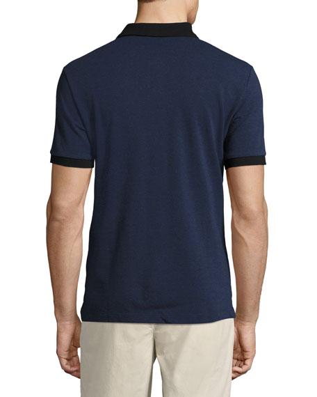 Haywood Check-Placket Cotton Pique Polo Shirt, Navy