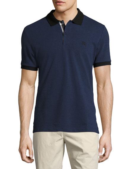 Burberry Haywood Check-Placket Cotton Pique Polo Shirt, Navy