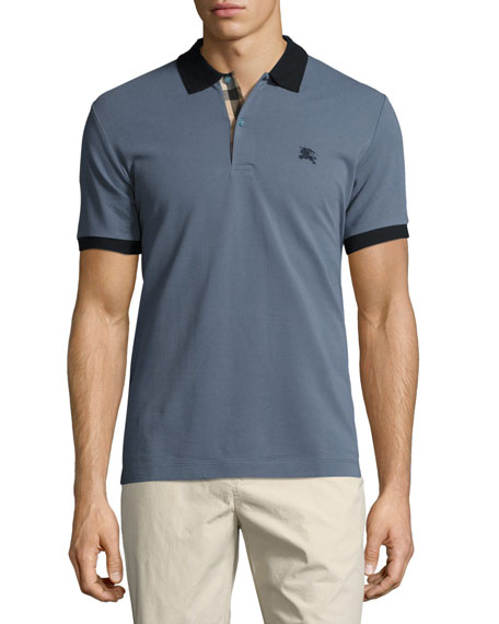 Burberry Haywood Check-Placket Cotton Pique Polo Shirt, Slate