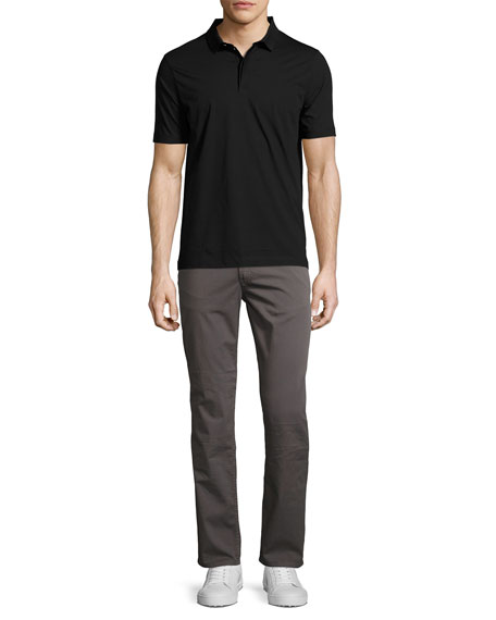 Stretch-Cotton Gabardine Straight-Leg Jeans, Gray