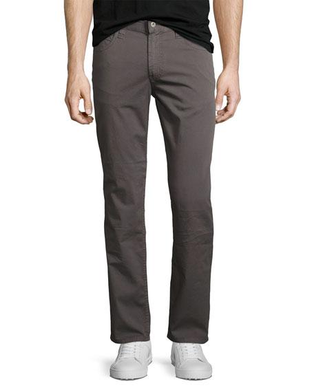 Armani Collezioni Stretch-Cotton Gabardine Straight-Leg Jeans, Gray