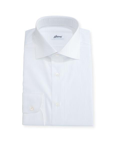 Brioni Tonal Houndstooth Dress Shirt, White