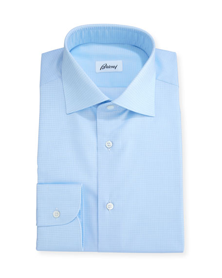 Brioni Tonal Houndstooth Dress Shirt, Blue