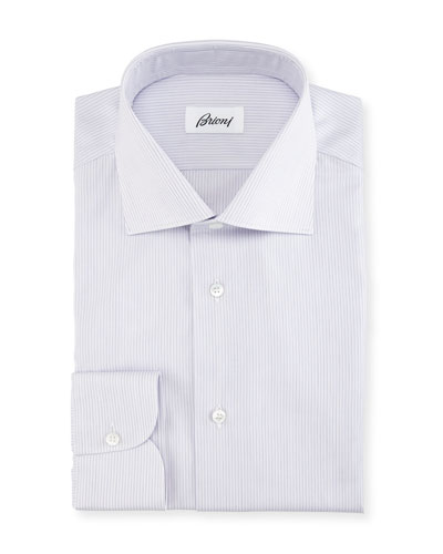 Narrow-Stripe Cotton Dress Shirt