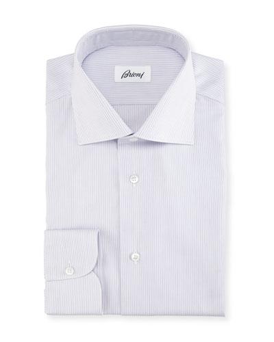 Narrow-Stripe Cotton Dress Shirt