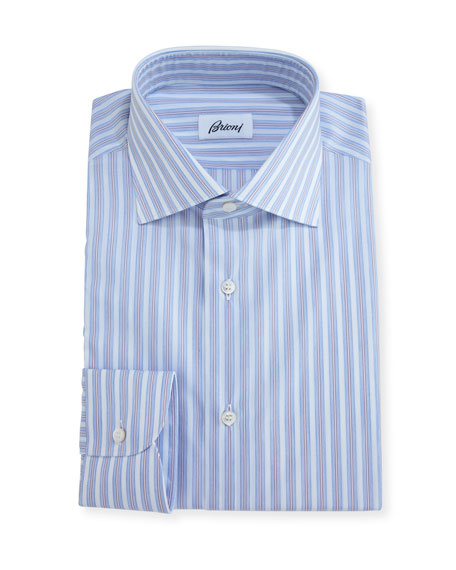 Striped Dress Shirt, Blue/Brown