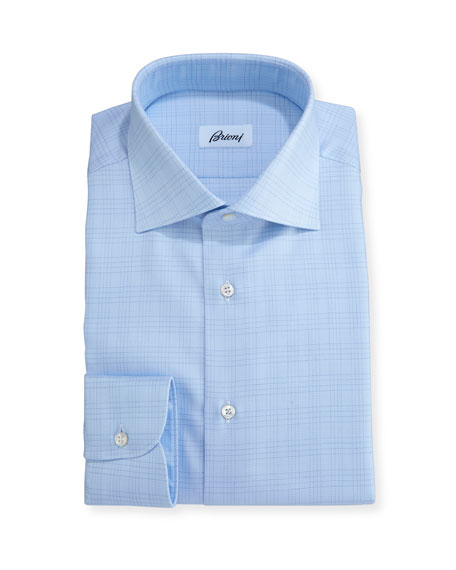 Brioni Plaid Dress Shirt, Light Blue