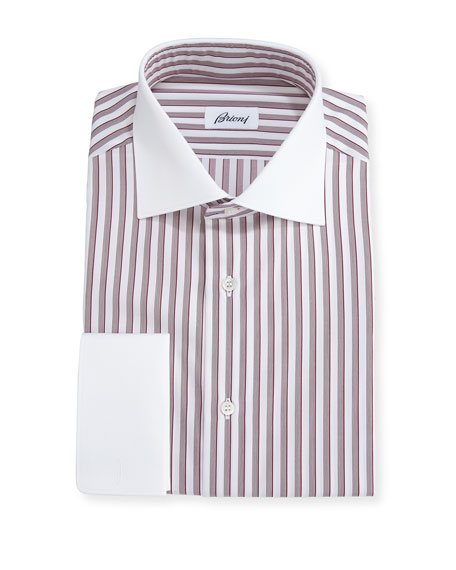 Brioni striped dress shirt with contrast collar cuffs for Mens dress shirts with contrasting collars and cuffs