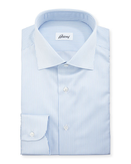 Brioni Multi-Stripe Cotton Dress Shirt, Blue