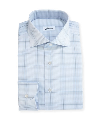 Plaid Dress Shirt, Light Gray/Blue