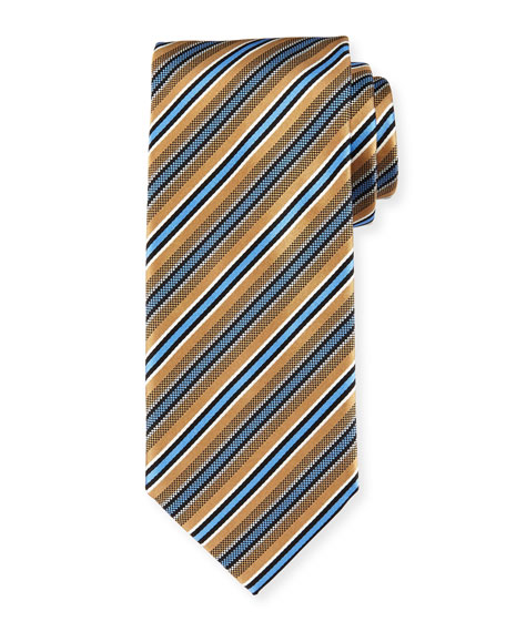Framed-Stripe Silk Tie, Gold
