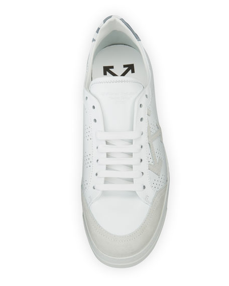 Perforated Leather & Suede Low-Top Sneaker, White