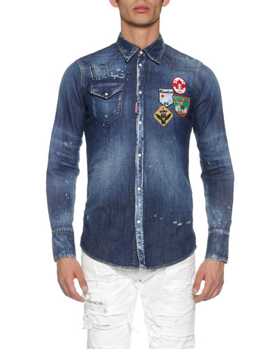 Denim Western Shirt with Patches, Blue