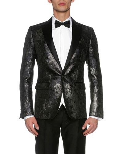 London Jacquard Evening Jacket, Black/Gray