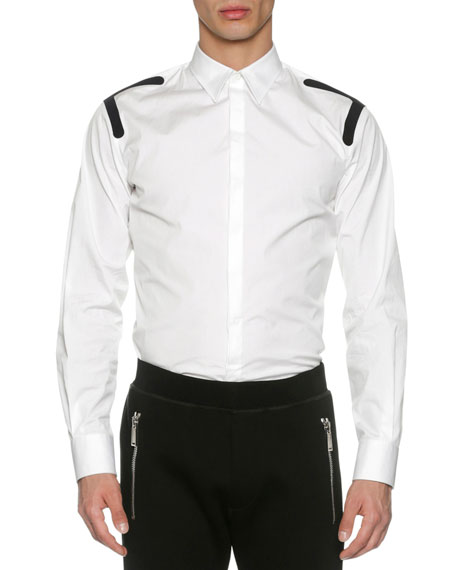 Dsquared2 Stretch Cotton Shirt with Taping, White