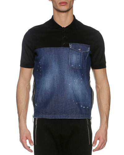 Denim & Piqué Side-Zip Polo Shirt, Blue