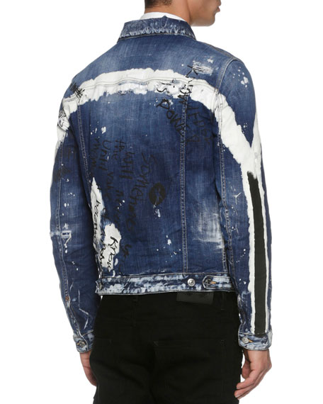 Painted Jean Trucker Jacket, Arch Wash