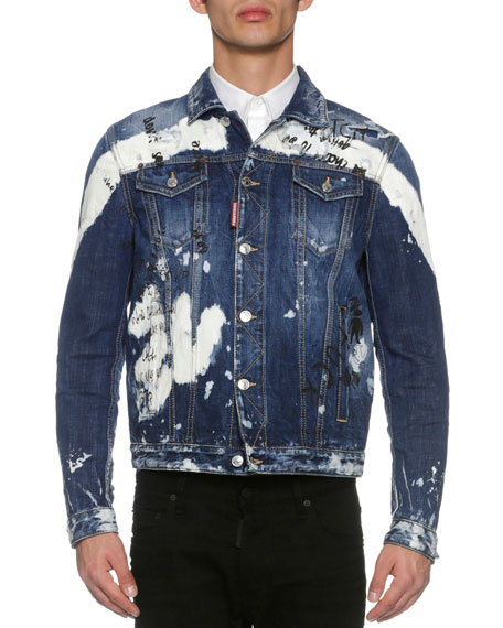 Dsquared2 Painted Jean Trucker Jacket, Arch Wash