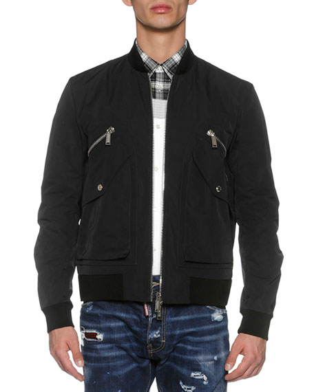 Four-Pocket Bomber Jacket, Black