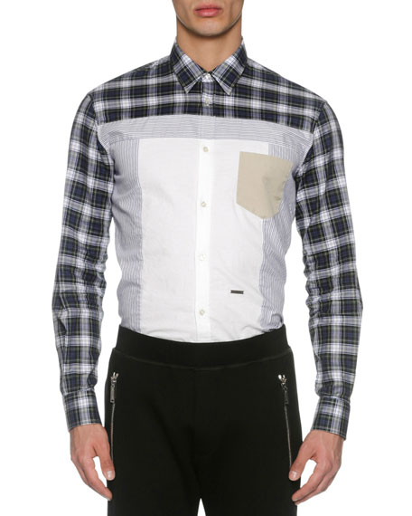Dsquared2 Mixed-Plaid Cotton Shirt, Blue