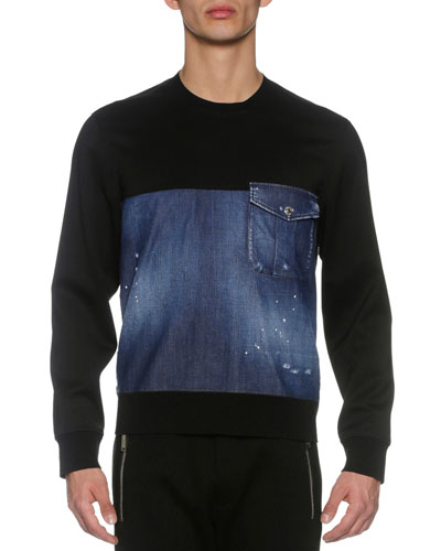 Denim & French Terry Sweatshirt, Blue