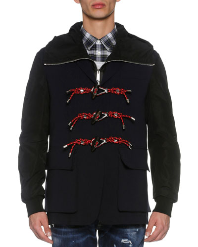 Two-in-One Toggle Jacket & Vest, Black/Navy