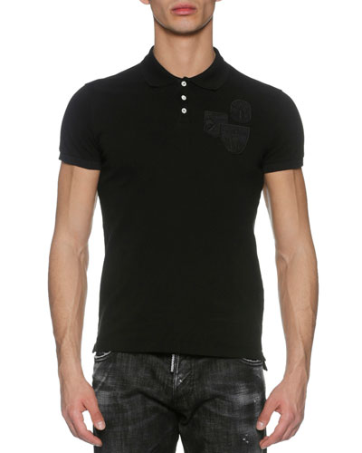 Piqué Polo Shirt with Military Patches, Black