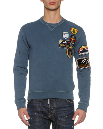 Sweatshirt w/Military Patches, Navy