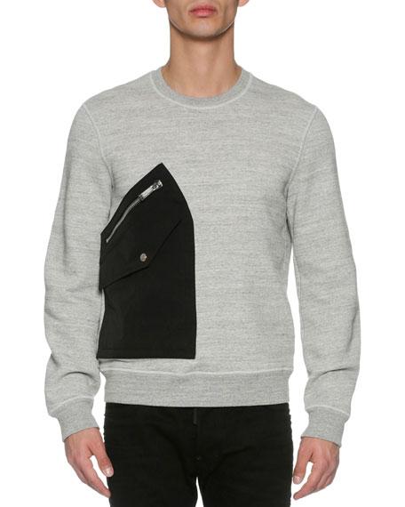 Patch-Pocket Space-Dye Sweatshirt, Dark Gray