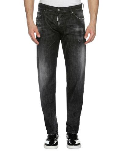 Faded Denim Slim Jeans, Soft Night (Black)