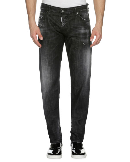 Dsquared2 Faded Denim Slim Jeans, Soft Night (Black)