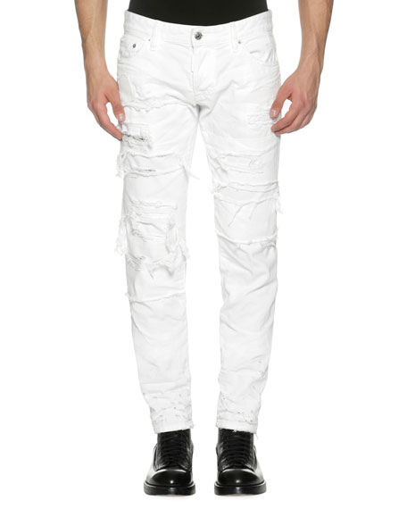 Dsquared2 Distressed Denim Slim Jeans, Strapped (White)