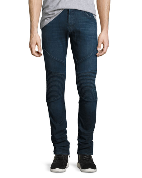 J Brand Bearden Moto Slim-Fit Jeans, Navy