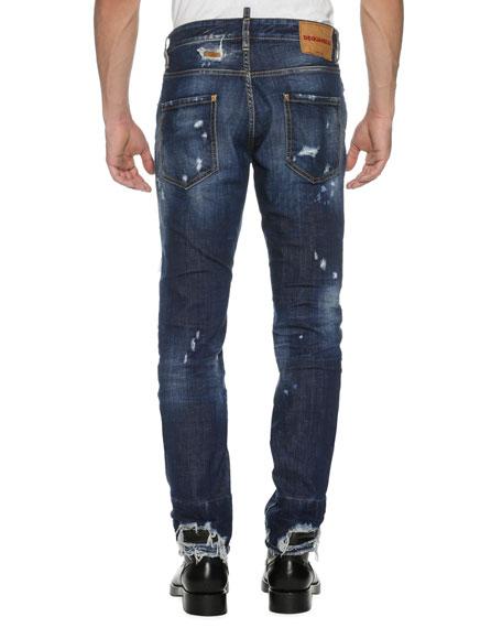 Cool Guy Distressed Denim Skinny Jeans, Wild Mountain (Blue)
