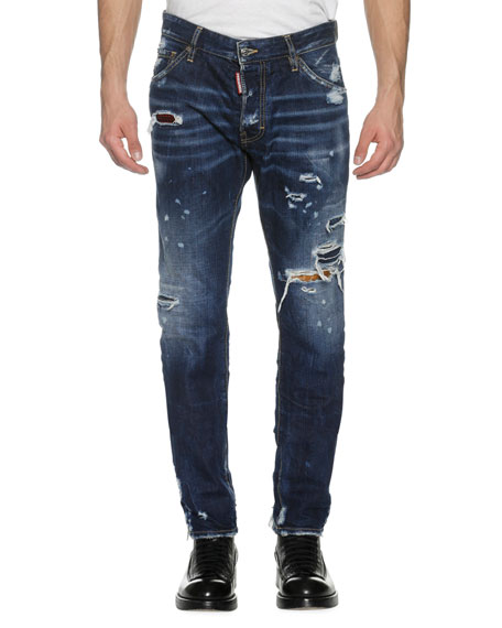 Dsquared2 Cool Guy Distressed Denim Skinny Jeans, Wild Mountain (Blue)