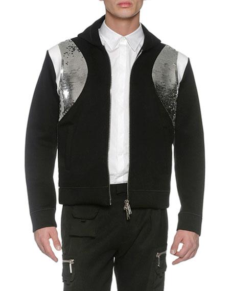 Sequined Neoprene Zip-Front Hoodie, Black